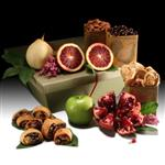 6lbs. fresh, seasonal fruits, roasted almonds, rugelach and chocolate-dipped pomegranate seeds from shiva.com.