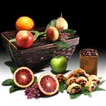 6 fresh, seasonal fruits, roasted almonds, 3 rugelach, chocolate-dipped pomegranate seeds and more from shiva.com.