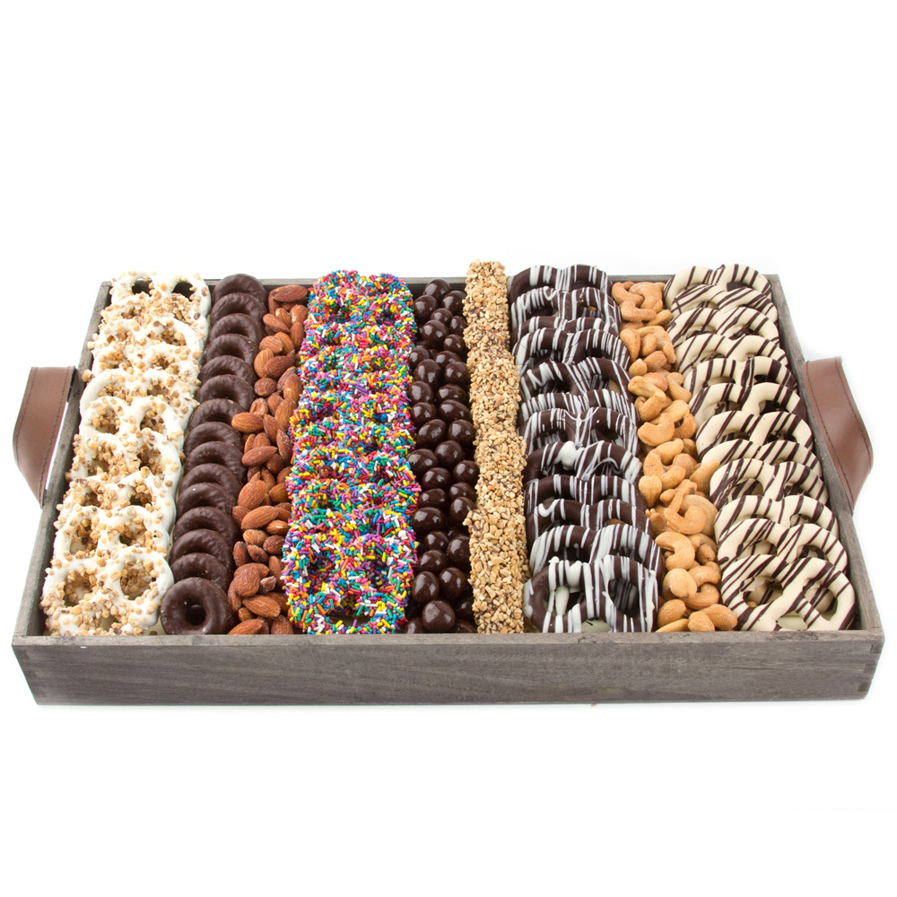 48 chocolate dipped pretzels, roasted nuts, bonbons and more from shiva.com. Kosher