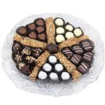 Glass tray filled with sweets and truffles from shiva.com. Kosher