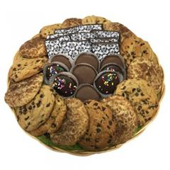 Cookie basket with Oreos, chocolate chip, oatmeal raisin and snickerdoodle from shiva.com. Kosher
