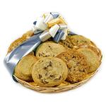 Comforting Cookie Basket with fresh baked chocolate chip, oatmeal raisin and snickerdoodle cookies from shiva.com. Kosher