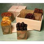 4lbs. of dried apricots, cherries, plums, mangos and roasted almonds in a wooden keepsake box from shiva.com.