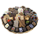 Collection of chocolate covered pretzels and Oreos, rugelach, brownies, dipped fruit and more from shiva.com. Kosher