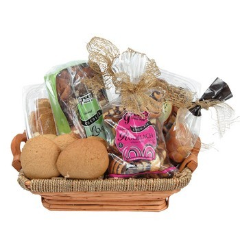 Gourmet chocolate bakery basket filled with babka, rugelach and cookies from shiva.com. Kosher