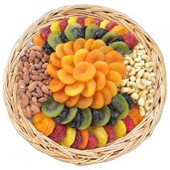 48oz. of assorted dried fruits and nuts on a wooden tray from shiva.com. Kosher