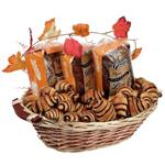 Gourmet cinnamon bakery basket with babka, sweet loaves and rugelach from shiva.com. Kosher