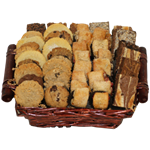 Sympathy bakery basket filled with gourmet and traditional treats from shiva.com. Kosher