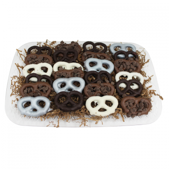 24 gourmet double dipped chocolate pretzels with premium toppings from shiva.com. Kosher