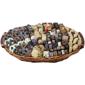 Lavish treat basket filled with gourmet chocolates, dipped Oreos, rugelach and more from shiva.com. Kosher